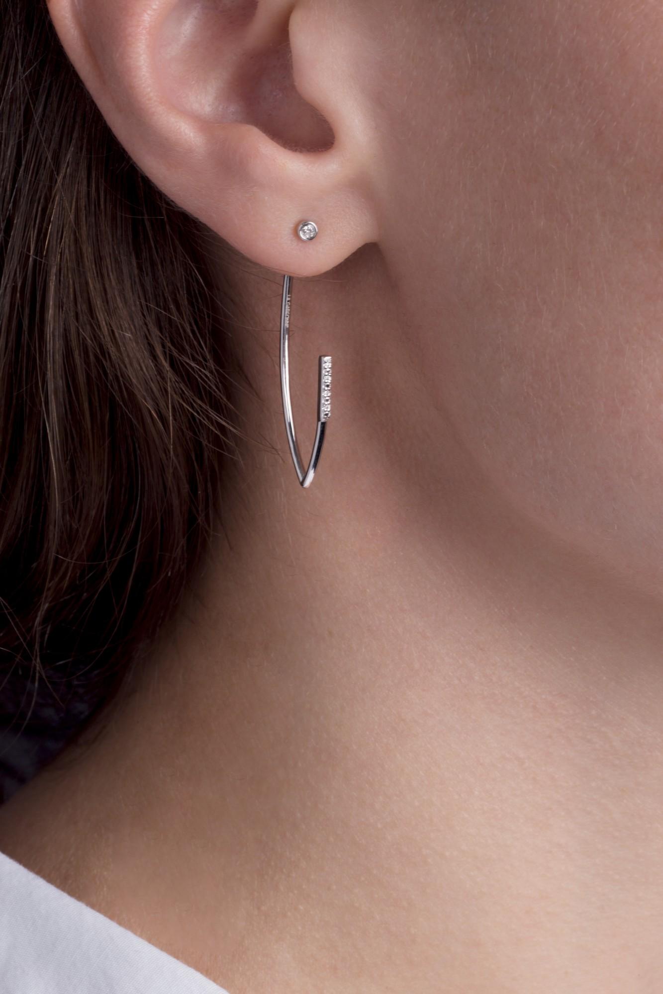 Boucles d'oreilles argent 925 millièmes rhodié Femme La Garçonne Diamant