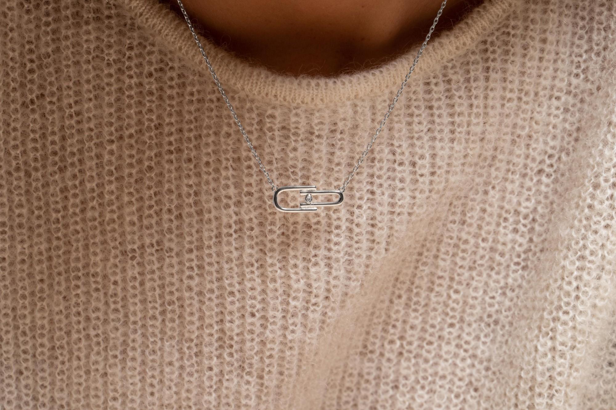 Collier argent 925 millièmes rhodié Femme La Garçonne Diamant
