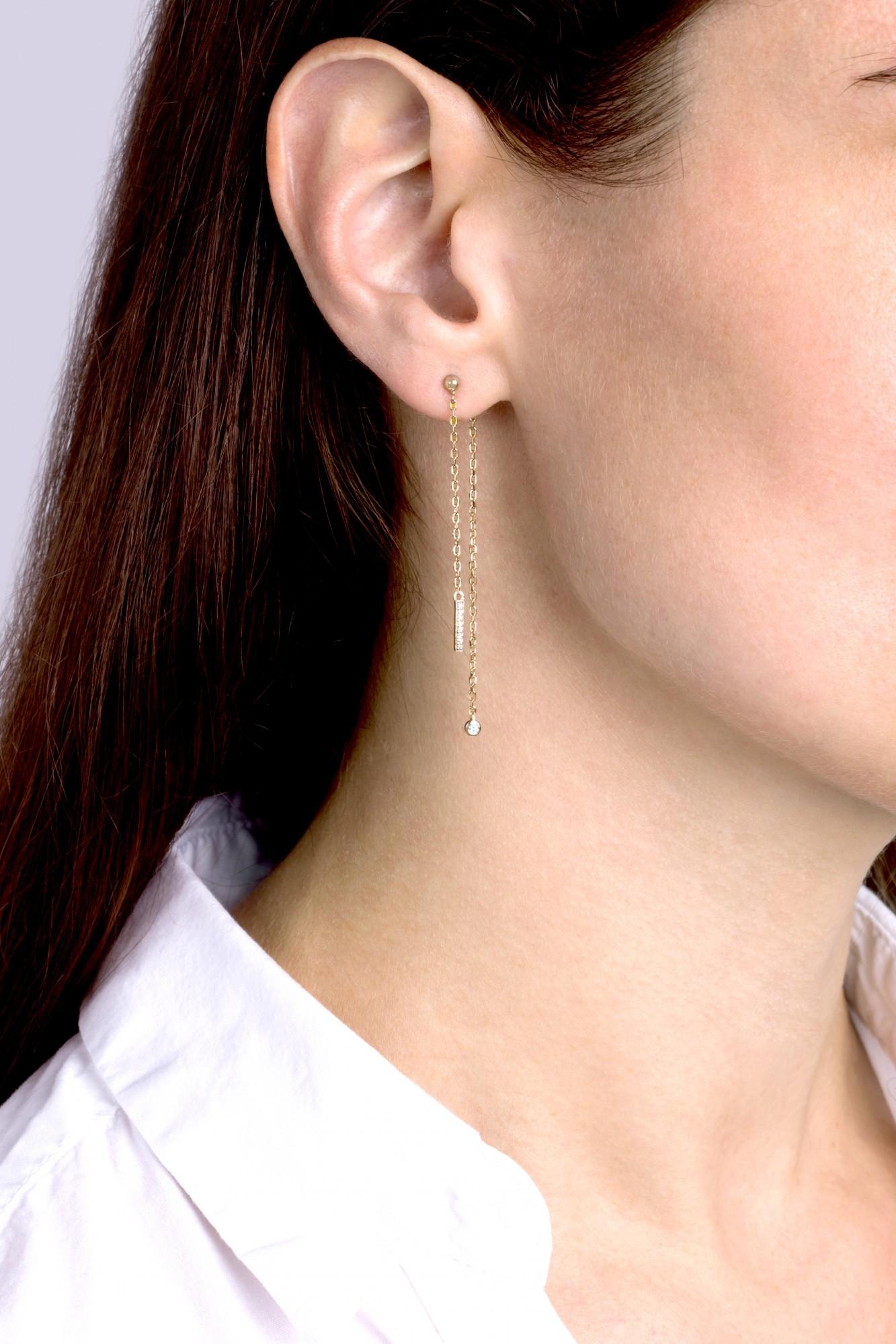 Boucles d'oreilles plaqué or 750 millièmes Femme La Garçonne Diamant